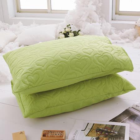 J-bedtime【愛情調色盤-迷戀綠】枕頭專用-絕美壓紋保潔枕墊(2入)