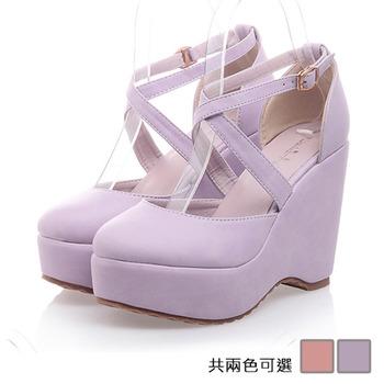 《JOYCE》甜美交叉帶飾厚底鞋