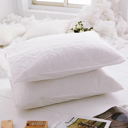 J-bedtime【愛情調色盤-輕戀白】枕頭專用-絕美壓紋保潔枕墊(2入)