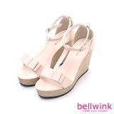 bellwink【B9303PK】T字朵結扣環厚底跟鞋-粉色
