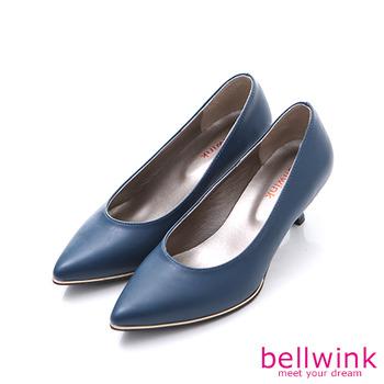 bellwink【B9304BE】素面皮革尖頭低跟鞋-藍色