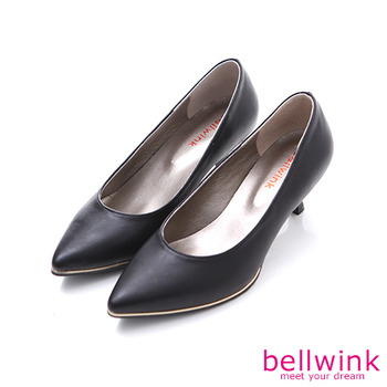 bellwink【B9304BK】素面皮革尖頭低跟鞋-黑色