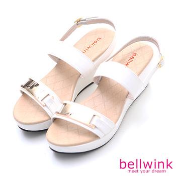 bellwink【B9308WE】金屬雙緞面扣環厚底鞋-白色