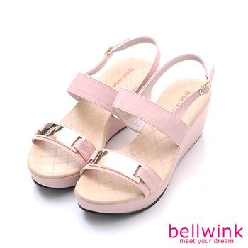 bellwink【B9308PK】金屬雙緞面扣環厚底鞋-粉色