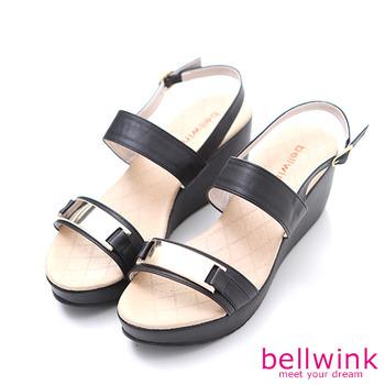 bellwink【B9308BK】金屬雙緞面扣環厚底鞋-黑色