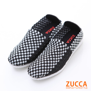 ZUCCA【Z5901BK】民俗編織格紋休閒包鞋-黑色