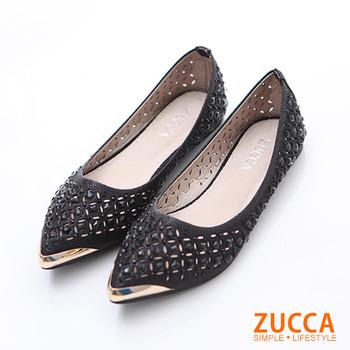 ZUCCA 【Z5912BK】 日系亮彩鑽尖頭平底鞋-黑色