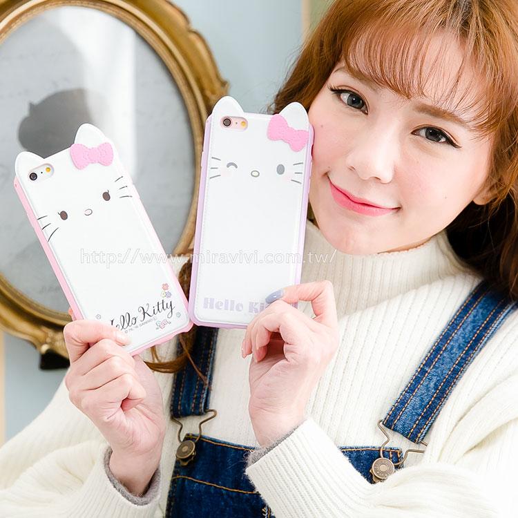 Sanrio iPhone 6 Plus/6s Plus 皮革彩繪耳朵造型保護套(附吊繩)-大臉款
