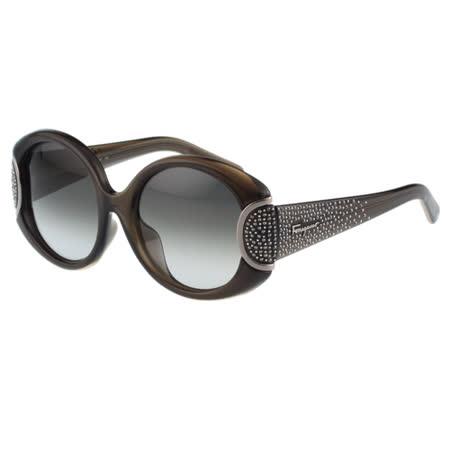 Salvatore Ferragamo- 水鑽太陽眼鏡(灰黑色)