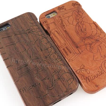 Disney iPhone 6/6s 原木/木頭雷雕保護殼/手機殼-米奇米妮