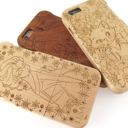 Disney iPhone 6/6s 原木/木頭雷雕保護殼/手機殼-女孩系列