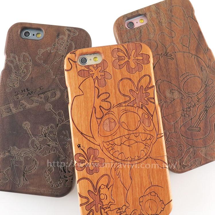 Disney iPhone 6 Plus/6s Plus 原木/木頭雷雕庇護殼/iPhone殼-可愛系列