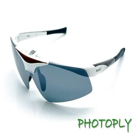 台灣斌視PHOTOPLY大聯盟太陽眼鏡(白+POLARIZER寶麗萊偏光太陽眼鏡片)