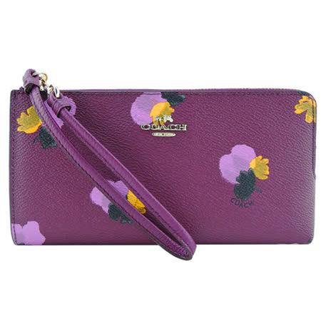 COACH 立體馬車LOGOPVC印花L型拉鍊長夾(玫紫)