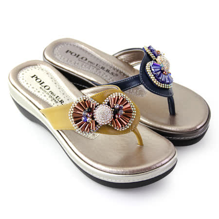 【GREEN PHOENIX】水鑽蝴蝶結全真皮輕量厚底夾腳拖鞋