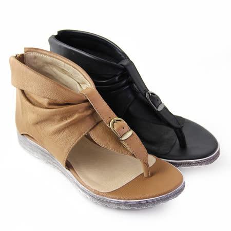 【GREEN PHOENIX】金屬扣反折抓皺鏤空全真皮夾腳羅馬涼鞋