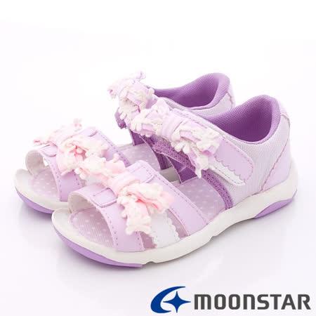 日本Carrot機能童鞋-緞帶花朵涼鞋款-CRC21529紫-(15~19cm)