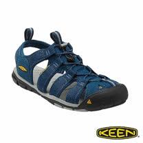 KEEN 男 CLEARWATER CNX 護趾涼鞋(深藍/淺灰)