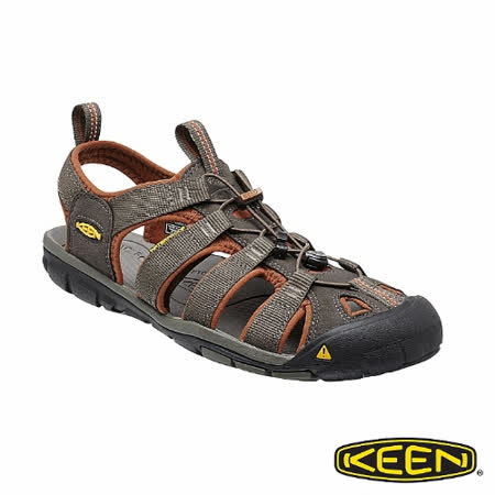 KEEN 男 CLEARWATER CNX 護趾涼鞋(深灰/咖啡)