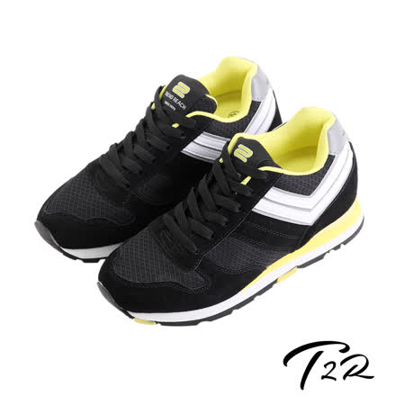 【韓國T2R】雙色運動風格增高休閒鞋 ↑8cm 黑(5600-0093)