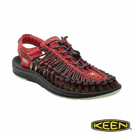 KEEN 男 UNEEK 護趾涼鞋(圓織帶)(黑/橘/灰)