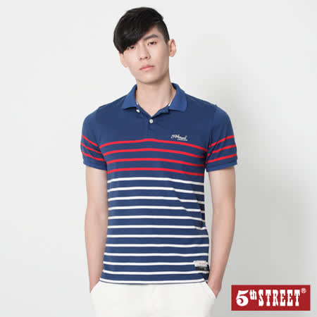 5th STREET 細條紋短袖POLO衫-男-丈青
