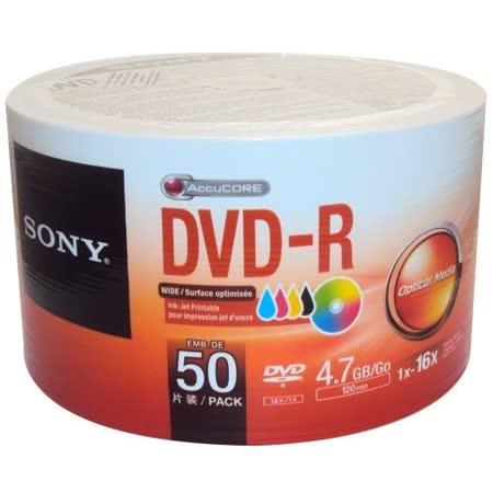 SONY 16X 4.7GB DVD-R 3760dpi 珍珠白滿版可印式 光碟片 X 50裸裝