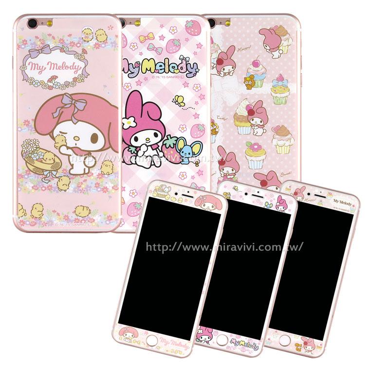 Sanrio iPhone 6 Plus/6s Plus 雙面強化玻璃彩繪保護貼-美樂蒂