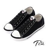 【韓國T2R】經典復古百搭男款內增高帆布鞋 ↑5cm 黑(5600-0215)
