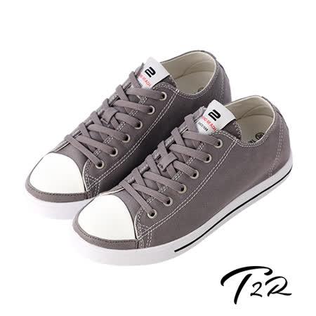 【韓國T2R】經典復古百搭男款內增高帆布鞋 ↑5cm 灰(5600-0217)