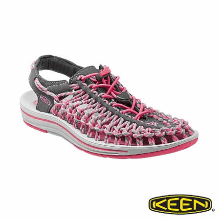 KEEN 女 UNEEK 護趾涼鞋(圓織帶)(深灰/粉紅)