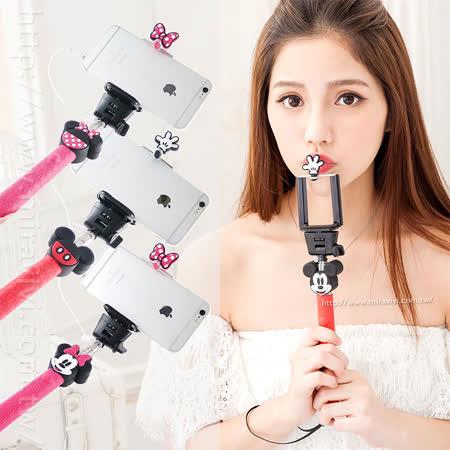 Disney 立體造型伸縮線控自拍棒/自拍神器(不需充電)-情侶系列