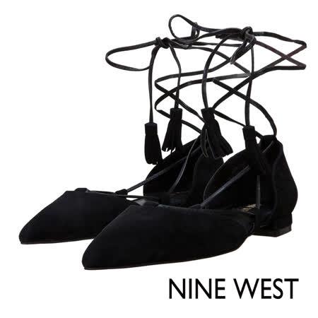 NINE WEST--繫帶尖頭平底鞋--質感黑