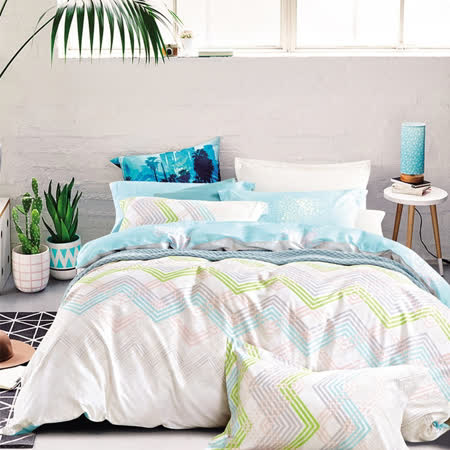 Pure One 台灣製100%極致純棉-雙人床包被套四件組-愛尚生活