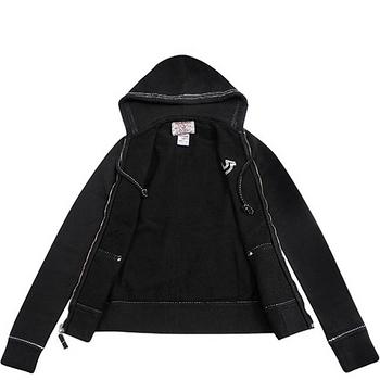 TRUE RELIGION 純棉女款連帽外套-黑色【XS號】