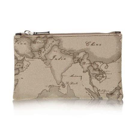 Alviero Martini 義大利地圖包 拉鍊手拿化妝收納包(小)-地圖灰