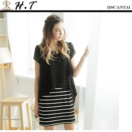 玄太-雪紡花苞袖彈性洋裝(黑)