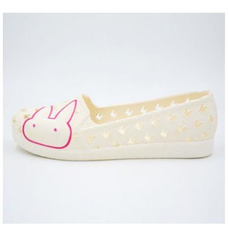 【Maya easy】一體成型防水海灘鞋/居家鞋/休閒鞋/洞洞鞋-小兔白色款
