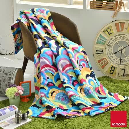 La mode寢飾歡樂慶典超多彩環保活性印染精梳棉單人涼被(150x195cm)