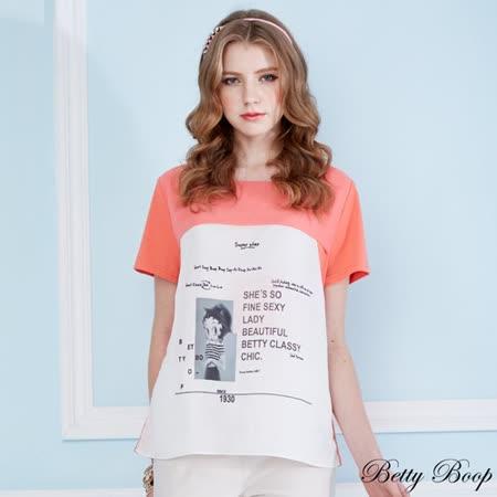 【Betty Boop貝蒂】雪紡大圖拼接彈性棉上衣(共二色)