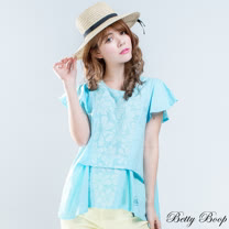 【Betty Boop貝蒂】印花剪裁壓褶棉麻寬版上衣(共二色)