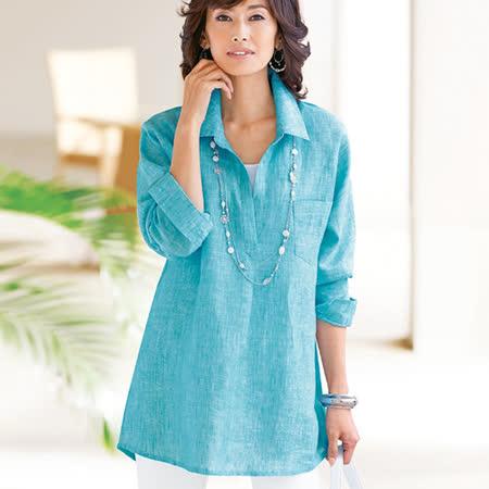 日本Portcros 現貨-法國亞麻簡約中長版襯衫上衣(共三色)