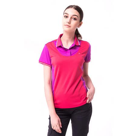 【hilltop山頂鳥】女款coldblack冷黑抗UV吸濕排汗POLO衫S14FC5-粉/紫
