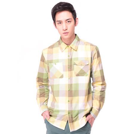【hilltop山頂鳥】男款COOL TECH吸濕排汗抗UV長袖襯衫S05M57-綠格紋
