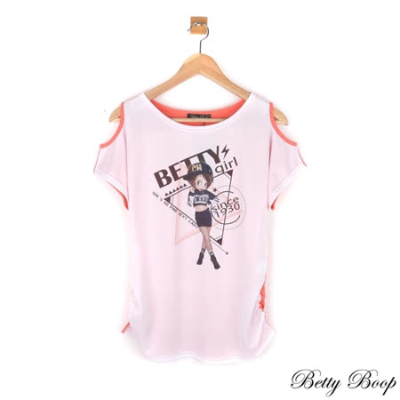 【Betty Boop貝蒂】貼鑽彩圖配色挖肩側抓皺上衣(共三色)