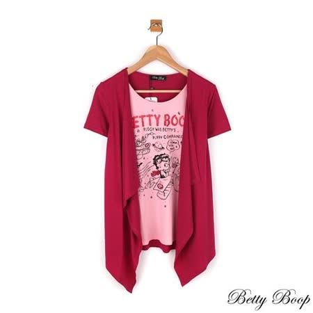 【Betty Boop貝蒂】假兩件配色印圖垂墜天絲棉上衣(共二色)