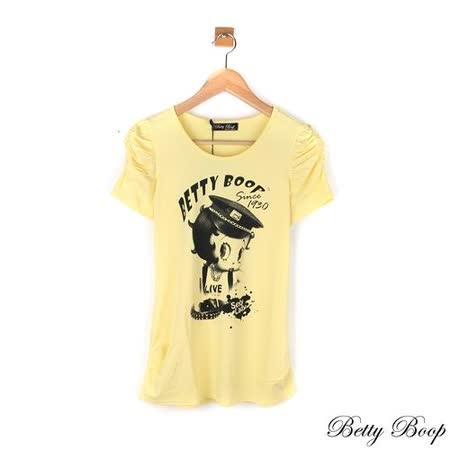 【Betty Boop貝蒂】公主袖側抓皺膠圖彈性上衣(共二色)