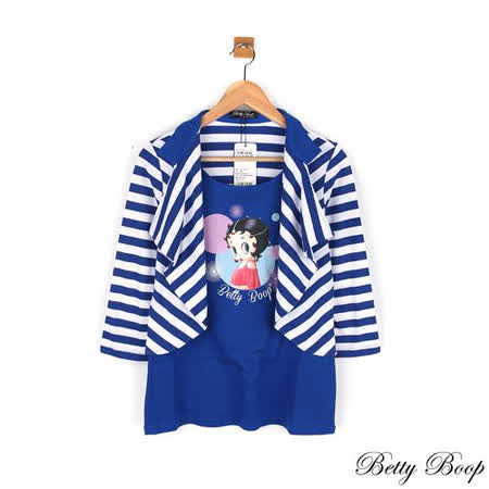 【Betty Boop貝蒂】假兩件膠印彩圖條紋翻領上衣(共二色)