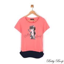 【Betty Boop貝蒂】配色貼鑽印圖側抓皺長版上衣(共三色)