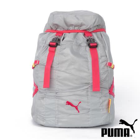 PUMA Fitness掀帽插扣式 束口後背包 (灰/桃) 06989804